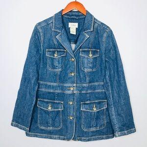 LL Bean Womens Denim Jean Jacket Sz M